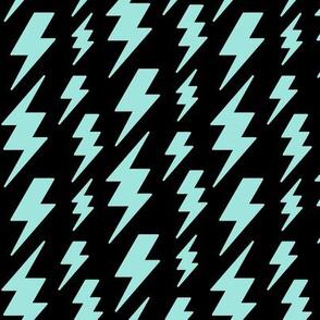 lightning bolts light baby teal blue on black » halloween