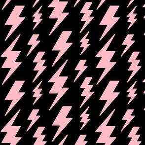 lightning bolts light baby pink on black » halloween