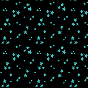 starry teal blue on black » halloween stars