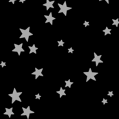 starry LG light slate grey on black » halloween - monochrome stars