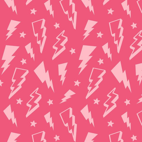 lightning + stars light baby pink on hot pink monochrome bolts