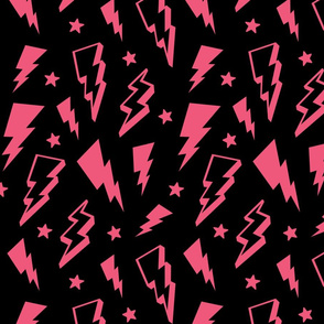 lightning + stars hot pink on black bolts