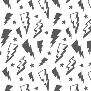 lightning + stars grey on white monochrome bolts