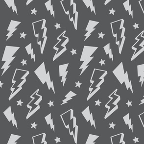 lightning + stars light grey on grey monochrome bolts