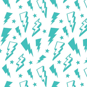 lightning + stars teal blue on white bolts