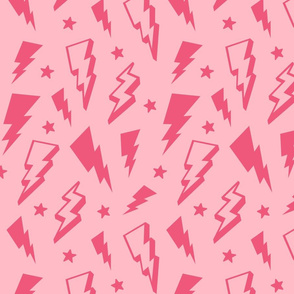 lightning + stars hot pink on light baby pink monochrome bolts