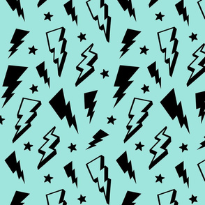 lightning + stars black on light baby teal blue bolts