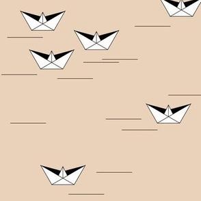 Origami boats - nude pond lake peach sailing geometric boat