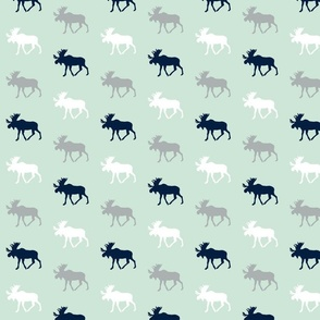 multi moose on mint (small scale)|| the northern lights collection