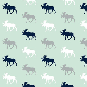 multi moose on mint    the northern lights collection
