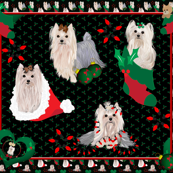 Yorkie Christmas Quilt Panel 42x36""