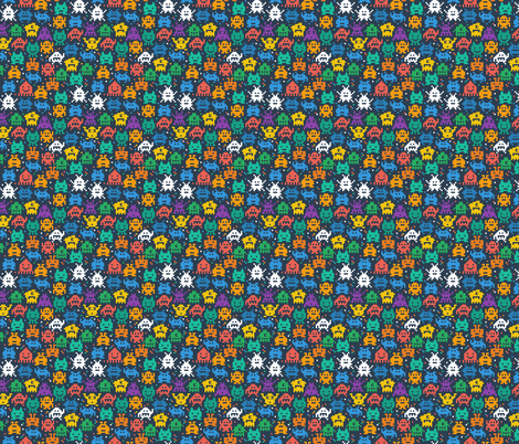 Retro space invaders old school video game fabric khaus for Vintage space fabric
