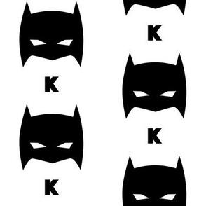 Superhero Bat Mask K Initial Black and White
