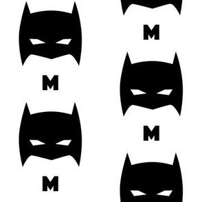 Superhero Bat Mask Initial M Black and White