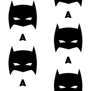 Superhero Bat Mask Initial A Black and White
