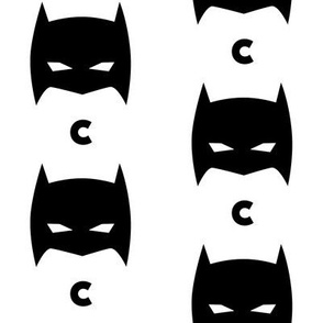 Superhero Bat Mask Initial C Black and White