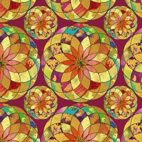 GOLD FLOWER MANDALA BURGUNDY ROSEWOOD RAIN BUBBLES
