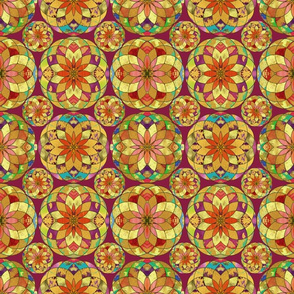 GOLD FLOWER MANDALA BURGUNDY ROSEWOOD RAIN BUBBLES Variegated Tiles