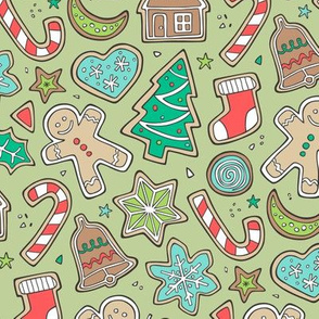 Christmas Xmas Holiday Gingerbread Man Cookies Winter Candy Treats on  Green