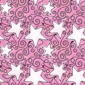 Project 96 | Stars | White on Cotton Candy Pink