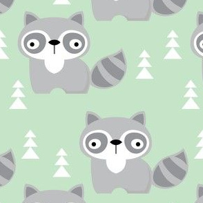 raccoons-on-mint-green