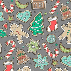 Christmas Xmas Holiday Gingerbread Man Cookies Winter Candy Treats on Dark Grey