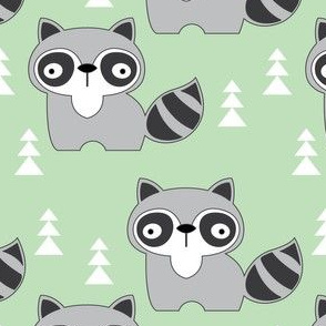 black and white raccoons on mint green