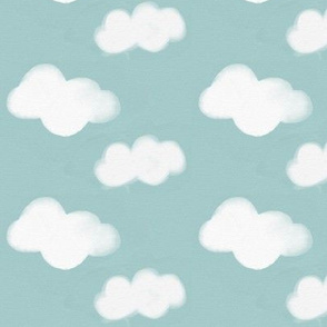 watercolor clouds - white on seafoam blue || by sunny afternoon