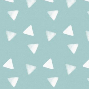 Watercolor triangles - white on seafoam blue || by sunny afternoon