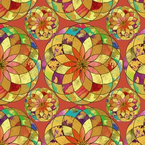 GOLD FLOWER MANDALA CLAY BROWN RAIN BUBBLES