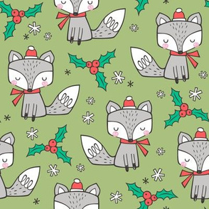 Winter Christmas Xmas Holidays Fox With snowflakes , hats  beanies,scarf  on Green