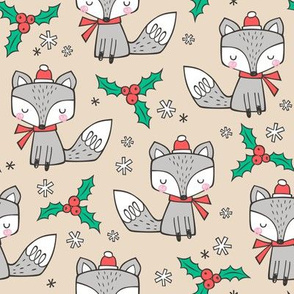 Winter Christmas Xmas Holidays Fox With snowflakes , hats  beanies,scarf