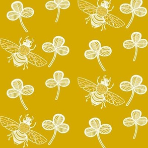 Clover and Bee on Golden Yellow