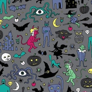 Retro Halloween - Grey with pink