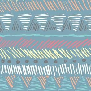 Blue Autumn Geometric Stripes