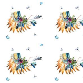 Young Souls Run Wild & Free - Indian Headdress 4 to 1 Yard - Fat Quarter