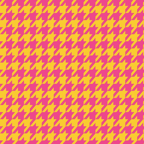Houndstooth Gold and Hot Pink