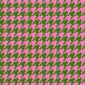 Houndstooth Army Green and Peony Pink