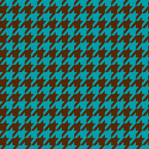 Houndstooth Chocolate Brown and Teal