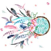 """36""""X36"""" - NO QUOTE Pink & Aqua Dreamcatcher 90 degrees"""