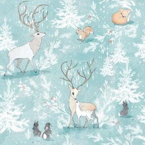 Vintage Woodland Christmas (ice blue)  (SMALL)