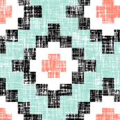 Mint + Coral Woven West by Southwest (limited palette) by Su_G