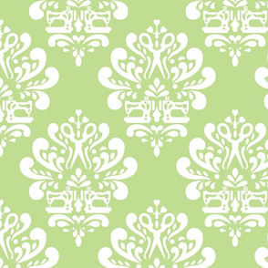 Sewing machine and scissors damask in green