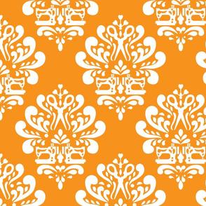 Sewing machine and scissors damask in orange