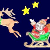 santa's sleigh at night