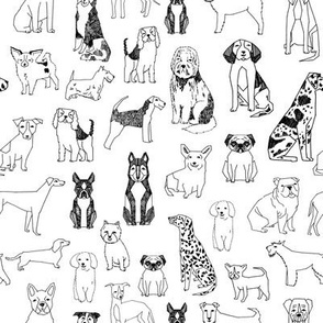 dogs // black and white hand drawn dog illustration cute dogs pet dogs