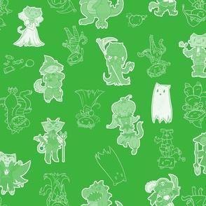 Halloween Kitties (Green)