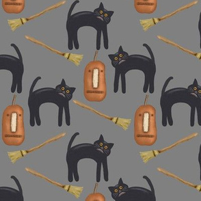 Halloween Black Cats and Brooms