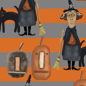 Halloween Prim Witch, Cat and Pumpkins