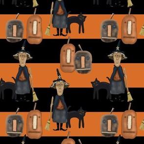 Halloween Prim Witch, Bold Stripes